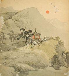 Traditional Japanese Art | antique japanese shikishi art landscape nihonga this japanese painting ...