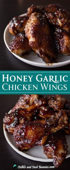 Baked Honey Garlic Chicken Wings from dishesanddustbunn. Baked Honey Garlic Chicken Wings from . Baked Honey Garlic Chicken, Honey Garlic Chicken Wings, Cooking Chicken Wings, Chicken Wing Recipes, Honey Wings, Grilled Chicken Wings, Sauce For Chicken Wings, Chicken Wing Sides, Oven Baked Chicken Wings