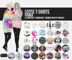 """pyanka: """"  Loose T-shirts; + mirror link As my first cc I decided to recolor one of my favourite top meshes! //original mesh by younzoey / female swatch by dani-paradise / standalone // I hope you will enjoy them! Please tag me if you use these, I'd..."""