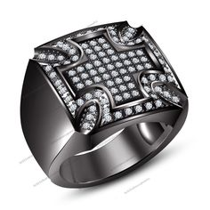 Christian Religious…. 3/4ct Diamond Cross Band Ring in 14K Black Gold Plated #Br925silverczjewelry #CrossBand