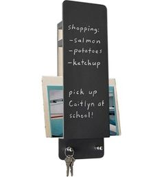 This Chalkboard Entryway Wall Organizer gives you a simple way to keep your hallway neatly organized. The front surface doubles as a chalkboard so you can leave notes for your family or loved ones as you head out the door in the morning. A built-in space behind the chalkboard gives you room to store your mail as you walk in the door so you can sort it later in the evening. Two key hooks at the bottom provide space to store your car keys so you don't have to look for them every time you leave…