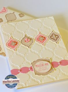 handmade card from La magie des étampes ... Mosaic Madness suit of stamps, punch and embossing folder... sweet and simple design ... a bit of bling ... vanilla with cafe au lait and crushed strawberrry ... YUM!! ...  Stampin' Up!