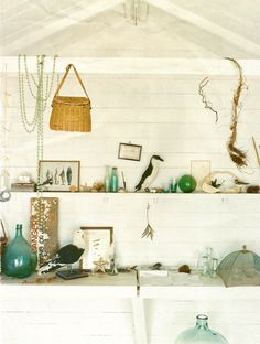 Beach house decor with found objects from the sea shore..