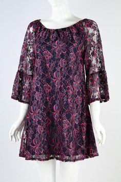1X-2X-BLACK-PINK-LACE-FLOWER-RUFFLE-LADY-NOIZ-WOMENS-CLOTHING-SHIRT-MJ106
