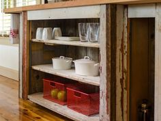 open shelving in rustic cabin kitchens | Rustic storage area open shelving