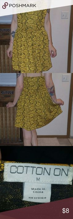 Yellow, and black floral flirty dress. Yellow, and black flowy dress. Super cute with a wide belt, and and moto jacket. Cotton On Dresses Midi
