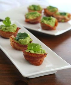 Appetizers for parties - paleo mini bacon guacamole cups – low carb and gluten-free, healthy buffalo cauliflower bites and chicken and zucchini poppers (gf, Banting Recipes, Ketogenic Recipes, Low Carb Recipes, Real Food Recipes, Paleo Recipes, Cooking Recipes, Free Recipes, Cooking Food, Ketogenic Diet