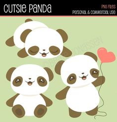 Instant Download Cliparts - Cutsie Kawaii Panda