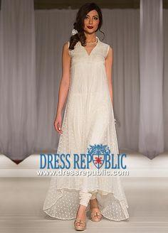 Off-white Long Shirt Dress with Dipped Hem Pakistani Party wear Pakistan Fashion Week 2014