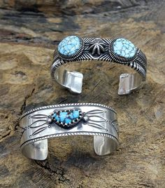 Turquoise bracelets by Ron Bedonie & Arland Ben from Perry Null Trading, Gallup, NM