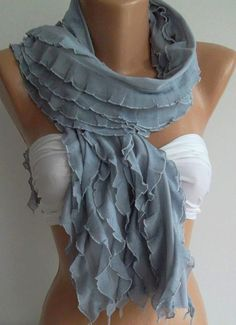 Chiffon  Grey   Elegance  Shawl / Scarf by womann on Etsy,