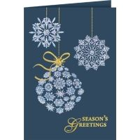 A trio of silver snowflakes hang from above, stamped in silver foil, the snowflakes truly shine! Decorated with gold ribbon and a bow, the dark blue card stock compliments the design quite nicely. Season''s Greetings is stamped along the bottom corner in gold foil for a finishing touch. This card is versatile for all holidays this winter.
