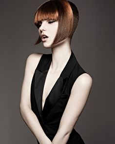 A Short Brown straight multi-tonal defined-fringe womens haircut hairstyle by Royston Blythe. I like the way the fringe is colored. Trending Hairstyles, Latest Hairstyles, Straight Hairstyles, New Haircuts, Hairstyles Haircuts, Cool Hairstyles, Brown Hairstyles, Love Hair, Gorgeous Hair