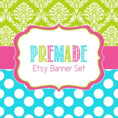 Colorful Pink Blue and Green Premade Etsy by JDesignsHandmade, $5.00