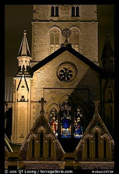 Southwark Cathedral detail at night. London, England, United Kingdom