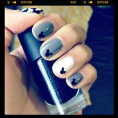 Grey and black mickey mouse nails. For more Nail Art ideas, visit www.nailartbank.com