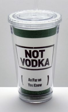 16 oz BPA-Free Acrylic Tumbler with Lid and Straw - Not Vodka Green Stamp, $14.99