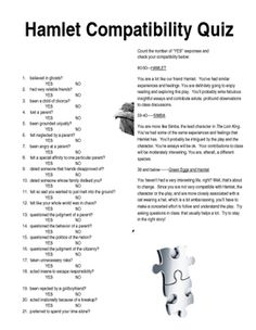 Created with Microsoft Word 2010 (editable)This is an activity for students to complete before reading Hamlet. A compatibility test allows students to determine how similar their experiences and feelings are to Hamlets. The activity shows students how universal the play is and points out that the conflicts and emotions that Hamlet has are common to all young adults.
