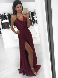 Hot V-neck A-line Silk-like Satin Floor-length with Split Front Prom Dress #UKM020104588