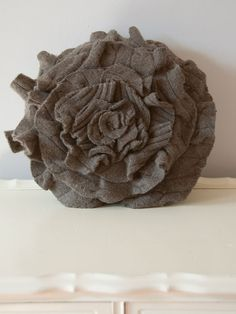 Wool Cashmere Ruffle Rose Pillow in Cableknit by thatfunkyboutique, $35.00