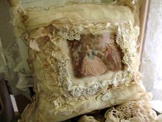 Love this pillow have done some similar with vintage silks, velvets & laces