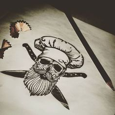 "Próximo tatuaje: ""MUERO POR COCINAR"" #tattoos #tattooarms #skulltattoo #skull #beard #beardsofinstagram #beardsandtattoos #beardskull #chef #cooking #cook #knife #ink #inked #freehand #sketch #sketching 