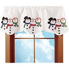 Embroidered Snowman Winter Rod Pocket Window Valance, White