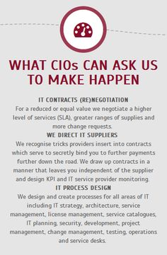 WHAT CIOs CAN ASK US TO MAKE HAPPEN