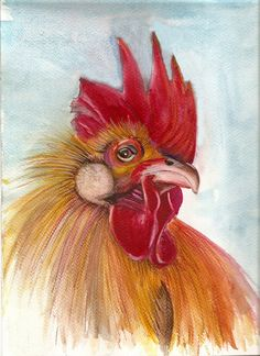 Rooster Portrait  original gouache painting by froganddog on Etsy