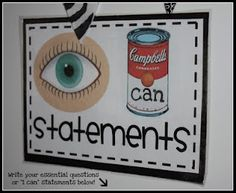 "Eberhart's Explorers - I can ...  Eye catching (pun intended) poster.  I love the I can board posted in the classroom I visited in Grantham, England.  This would be a great title at top of board.  The teacher had a vinyl pocket chart with pockets about the size of a CD.  Each student had a pocket with a picture and name.  They inserted their own ""I Can"" statements, in their own handwriting, in the pocket so they could display the success they wanted to share publicly."