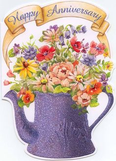 coffee-pot-with-flowers-happy-anniversary-card Anniversary Greeting Cards For Your Lover, Parents Or Partner Free Anniversary Cards, Aniversary Cards, Happy Wedding Anniversary Wishes, Anniversary Greetings, Anniversary Pictures, Birthday Greetings, Birthday Wishes, Anniversary Meme, Happy Anniversary Parents