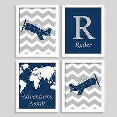 Plane Print Set - Airplane Nursery - Airplane Room - Travel Theme - Set of Four 8x10 Prints - Nursery Art - Baby Wall Art - Boy Room by AugustBloomDesigns on Etsy https://www.etsy.com/listing/185663885/plane-print-set-airplane-nursery