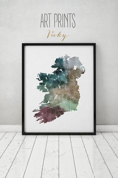 Ireland watercolor map Ireland Wall art Ireland by ArtPrintsVicky