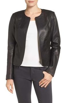 Emerson Rose Zip Front Leather Jacket