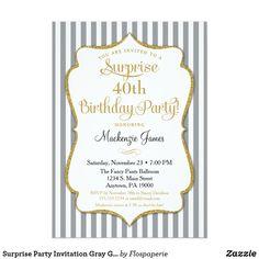 70th birthday surprise party invitations pinterest 70 birthday surprise party invitation gray grey gold elegant stopboris Image collections