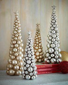 "-5XT0   Silver 19"" Christmas Ball Tree Silver 13"" Christmas Ball Tree Gold-Glitter 13"" Christmas Tree"