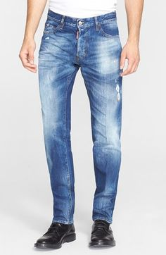 Dsquared2 'Double D' Straight Leg Jeans (Blue) available at #Nordstrom