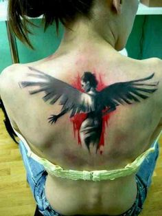 French artist, Xoil. Angel back red black white tattoo ink