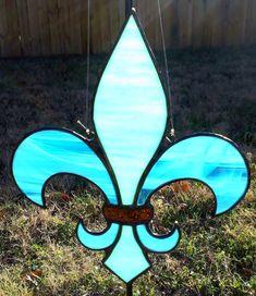 Stained Glass Fleur de Lis Suncatcher Mardi Gras by JBsGlassHouse