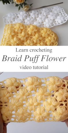Crochet Braid Puff Stitch - Watch this tutorial to learn the crochet braid puff stitch! This crochet puff flower pattern has the most interesting texture I have encountered! Puff Stitch Crochet, Crochet Puff Flower, Crochet Stitches Free, Crochet Flower Patterns, Crochet Chart, Crochet Flowers, Crochet Geek, Crochet Top, Crochet Braids
