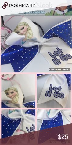 Disney Frozen Cheer Bow NEVER WORN! 🌟DISNEY FROZEN🌟Cheer bow. never worn--- beautifully constructed blue, white, bling, still has tags.  AMAZING QUALITY BOW!  🌟Price is firm unless bundeling with other items you can bundle and make offer or comment below what items you would like and I can put together a discount with you. 💜🌟🌟 Accessories Hair Accessories
