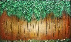 Art Painting.Original Abstract Emerald Forest Painting.Large