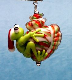 Made to order Margo lampwork beads Christmas frog by margolampwork, $19.00