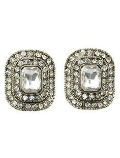 Rounded Rhinestone Jewel Earrings from Helen's Jewels