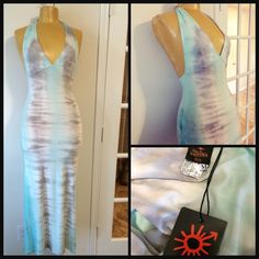 Jean Paul GaultierSoleil custom dyed halter maxi Gorgeous custom dyed maxi halter dress from John Paul Gaultier Soleil. Perfectly cut for the ultimate in figure flattery. Stretch jersey knit with tones of Aqua and lavender chestnut. Bust portion lined Jean Paul Gaultier Dresses Maxi