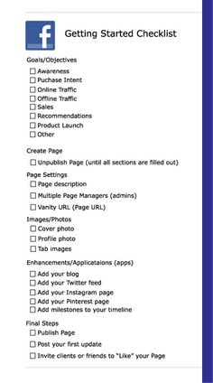 Facebook for Business Checklist - get this and other worksheets in my book: Taking Your Brand from the Bench to the Playing Field: Social Media Fundamentals for Business. http://amzn.to/1rN2bYe (Kindle or softback)