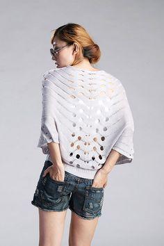 Korean Fashion Hollows Dolman Sleeve Knitting Sweater