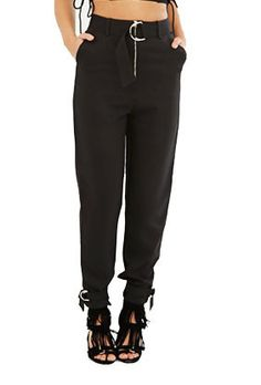 d ring belt outfit. black d-ring belt \u0026 cuff tapered leg trousers d ring outfit