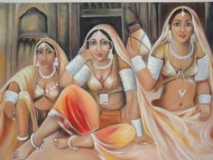 Oil painting about Rajasthani folk women