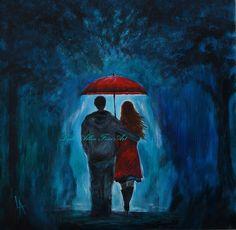 "Couple Painting SALE Couple Original Acrylic Painting COUPLE LOVE Romantic Loving True Love  ""I'll Love You Always"" Leslie Allen Fine Art"